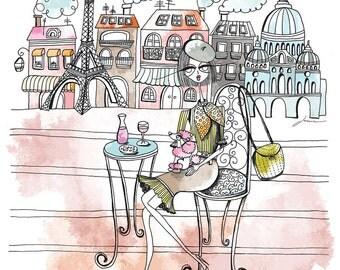 The Parisian, Illustrated Art Print - A4