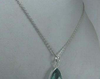 Aquamarine Quartz Pendant with Chain, March Birthstone Necklace, Aquamarine Pendant For Her, Birthday Gift