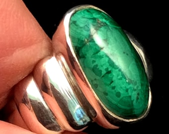 Size 8 Sterling Silver Ring. Green Malachite or Purple Amethyst free US ship