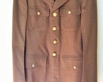 Vintage 1940s Army Uniform Jacket / World War Two Uniform / WW2 Clothing / Mens Military Jacket / 6th Army / Army Patch