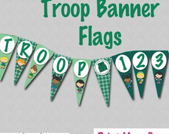 Green Troop Banner - Instant Download - Print Your Own