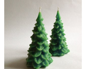 Christmas Trees, Two Candles, Beeswax Candle, Holiday Decor, Pine Trees, Green Trees, Custom Colors, Set of Two, Large Christmas Candle