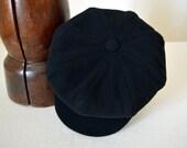 Black Newsboy Cap - Pure Wool Velour Handmade Eight Piece / Bakerboy / Apple / Newsboy / Flat Cap - Men Women
