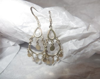 Vintage Sterling Silver Tear Drop Dangle Earrings