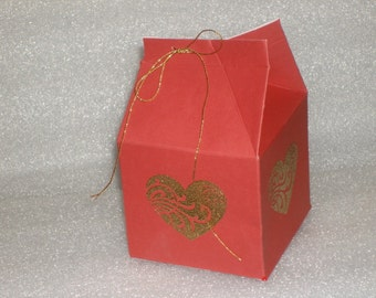 Red Favor Milk Cartons with Embossed Heart  for Valentines Day, Wedding favors, Bridal Showers, Birthdays, Baby Showers