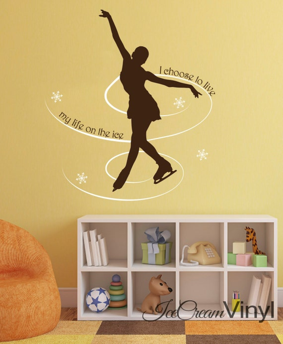 Ice Skater Vinyl Wall Decal Ice Skating for Girls Nursery Bedroom Play Room Vinyl Sports Childrens Decor