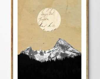 Wilderness - Mountain Art, Surreal Print, Forest Art, Moon Art Print, Collage Art, Nature Print, Surreal Landscape