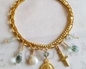 Bracelet - Saint Mary Magdalene Moss Agate, Aqua Quartz, Silverite, Crystal - 18K Gold Vermeil