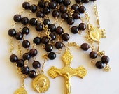 Rosary - Garnet Saint Mary Magdalene Rosary - 18K Gold Vermeil Crucifix & Center
