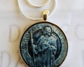 "St James the Greater Apostle Pendant with 20"" Sterling Silver Chain - 32mm"
