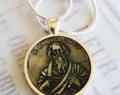 "St Bartholomew Apostle Pendant with 20"" Sterling Silver Chain - 28mm"