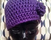Crochet Beanie Hat with Flower in Purple Sparkle, Gift