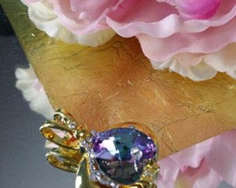 Aurora - a Tanzanite Upside Down Heart Swarovski Pendant