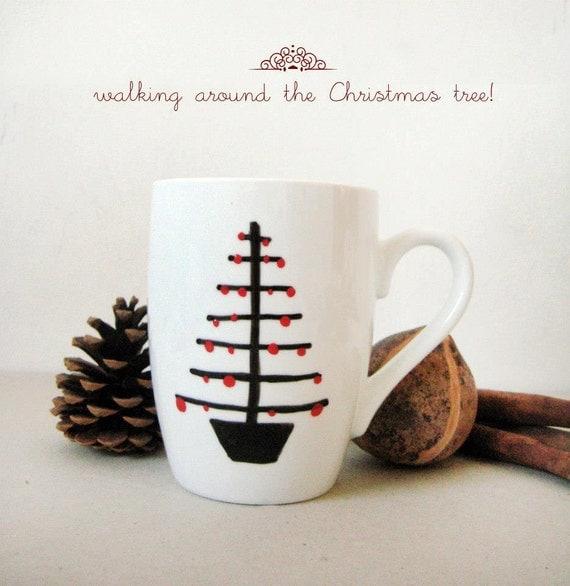 "Christmas Mug - Hand painted White Ceramic Mug, ""Christmas tree"""