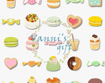 64 Dessert Cake Sweets Digital Download Scrapbooking Clip Art a24