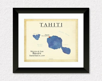 ... Gift for Couple, Travel Map of Tahiti, Present for Spouse, Travel Gift
