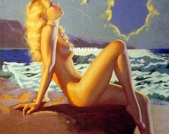 sexy blonde sunbathing by the ocean sexy hot photo mounted erotic