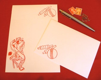 Cricket Stationery Set - Writing Paper - Letter Writing Set- Stationery Paper - Writing Paper Stationery - Cricket Paper