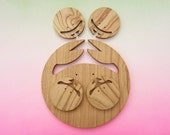 Family Table pieces in chesnut wood, cutting board, plate, coasters decoration crab 100% natural and adapted to food contact