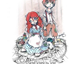Raggedy Anne and Andy Dolls - DIGITAL STAMP Instant Download for Cards & Crafts
