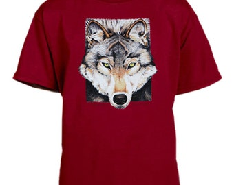 Gray Wolf cardinal red youth t-shirt