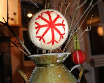 Felted Christmas ornament made from wool roving.