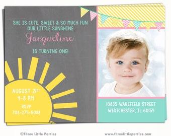 Little Sunshine Invitation - Chalkboard Sunshine Birthday Party Invitation  - Printable Invitation - First Birthday