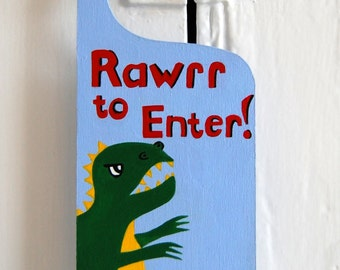 Personalised Dinosaur door sign, T Rex door hanger, Dinosaur decor, Boys door sign, T Rex decor, Kids Dinosaur Art, Boys Dinosaur Room