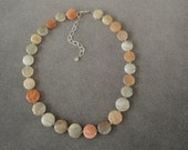 Pastel Sunstone Discs Adjustable Necklace from 17.5 to 20.5 inches with Sterling Silver Chain and Lobster Claw Clasp