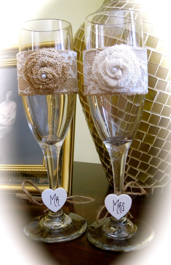 Burlap & Lace Rustic Wedding Champagne Toasting Flute Glasses