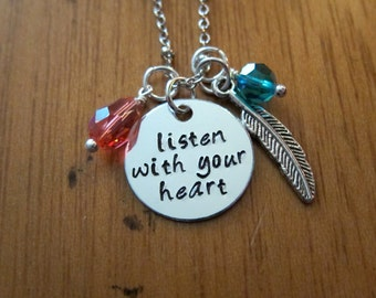 "Pocahontas Inspired Necklace. ""Listen With Your Heart"". Silver colored,  Swarovski Elements crystal, for women or girls."