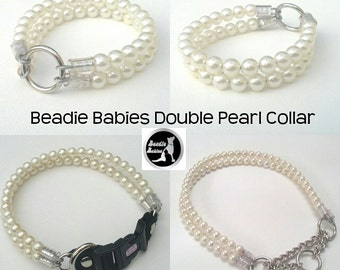 Double Pearl Dog Collar,Cat collar, Buckle Collars, Martingale Collars, Dog Pearls UNBREAKABLE GUARANTEE!