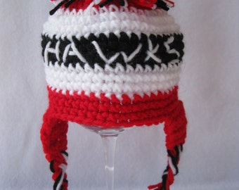 Chicago Hockey Teen/ Adult  Blackhawks Crochet Hat Handmade Hockey Sport Hat