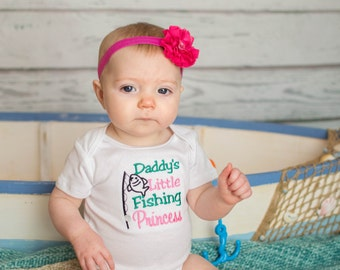 Embroidered Baby Girl Bodysuit Onezie - Daddy's Little Fishing Princess