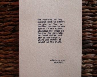 Poetry - Romantic Bedroom Decor - Girl On Fire Poem - Typed by Poet with Vintage Typewriter