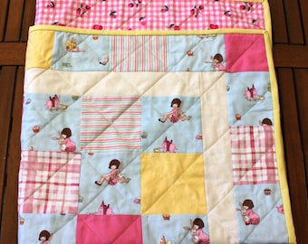 Belle and Boo Tea Party Patchwork Quilt for cot, lap, floor or wall.