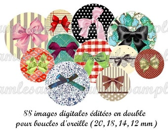 Bow, digitals images, one inch, scrapbooking and bottle cap,printable image, instant download