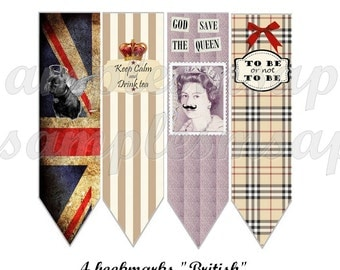 4 bookmarks - Digital image bookmark british england, scrapbooking, printable collage, printable bookmark