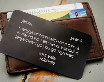 Anniversary Gift for Him, Personalized Wallet Card, Metal Wallet Insert, Custom Wallet Insert Card, Father of the Bride, Military Deployment