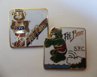 Set of 2 Vintage lapel pins - S.F.C. Fit Bear - Running and Swimming