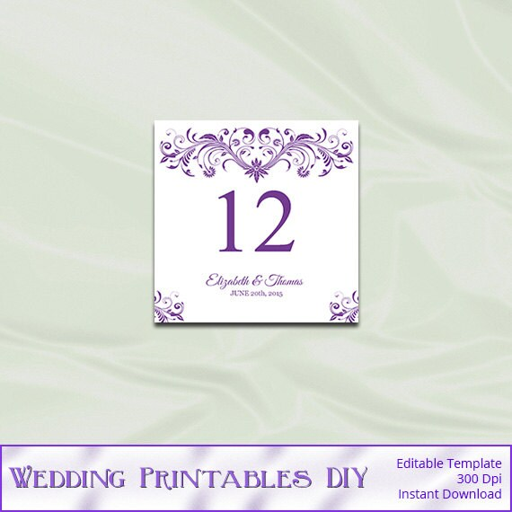 items similar to purple table number template
