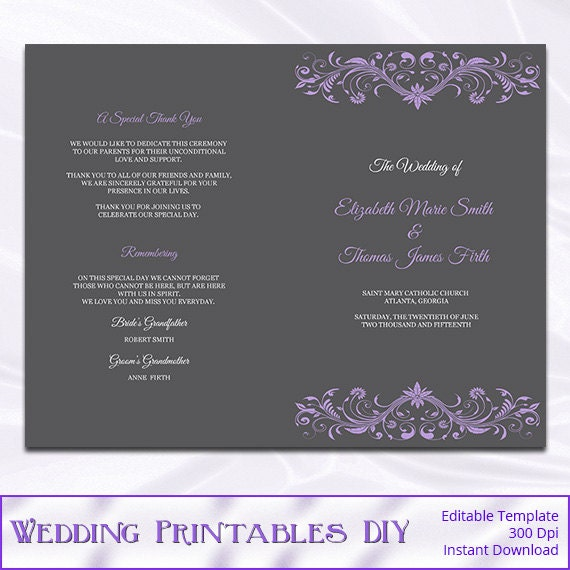 Catholic Wedding Program Template Purple by WeddingPrintablesDiy