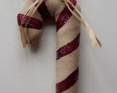 Country Candy Cane Christmas Ornament, Hand Painted