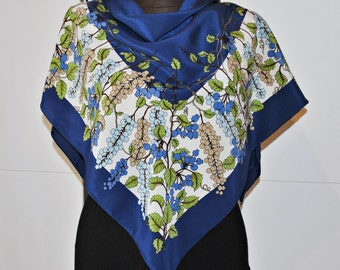 Vintage Silk Scarf with Berries and Leafs Print - Blue Background - hand rolled