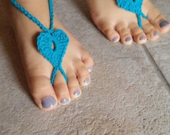 TWO  Pairs Baby Heart Barefoot Sandals,Girly foot jewelry,Kids leg Accessory,Baby crochet Sandals, Gift ideas for Baby. Tyrquoise and Pink.