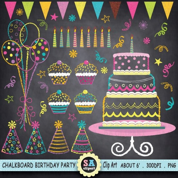 Chalkboard Birthday Party Clip Art Birthday CLIP