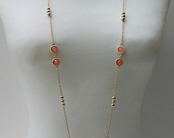 Gold Chain Necklace With Peach Beads / Statement Necklace / Long Necklace.