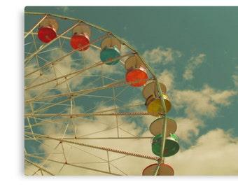 Ferris Wheel Wall Canvas Art, Gallery Wrapped Canvas, Nursery Decor, Bedroom, Living Room, Retro Photography