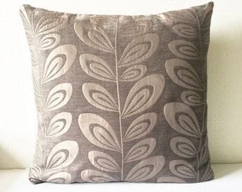 Brown Upholstery Leaf Abstract Cushion Throw Pillow Cover 16x16 or 18x18 inches