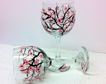 Cherry Blossoms (Small Flowers) Hand Painted Wine Glasses (set of 2)
